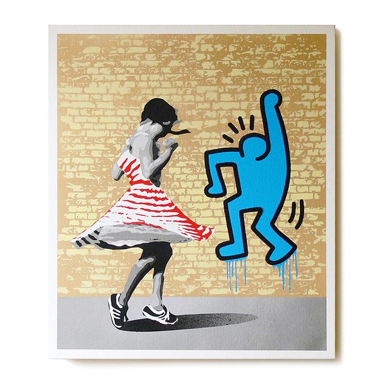 ステンシルアート「Dance with K  (Red girl Edition)」
