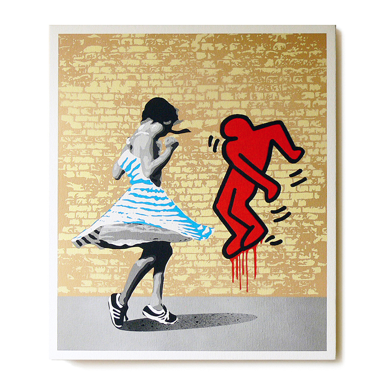 ステンシルアート「Dance with K  (Blue girl Edition)」